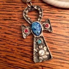 VINTAGE SILVER TONE RHINESTONE CROSS PENDENT BEAUTIFUL CROSS SILVER TONE   BLUE , MAROON & RHINESTONES CROSS PENDENT Vintage Jewelry Necklaces