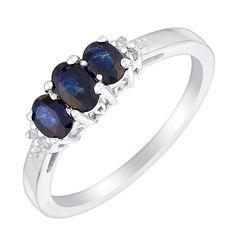 9ct white gold sapphire & diamond three stone ring - Product number 3075141