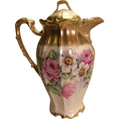 Victorian Roses CHOCOLATE POT Antique Limoges France Chocoliatiere HAND PAINTED ROSES Fine Vintage Heirloom China Painting Circa 1900