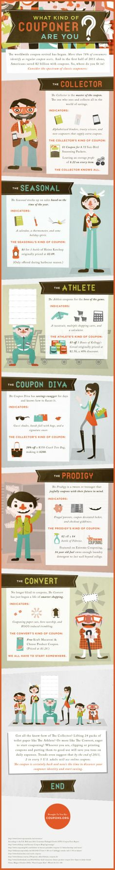 Not every couponer is the same. Some save with their family of seven in mind, while others save with their shoe closet in mind. Different lifestyles means different needs and therefore, different coupons. Luckily, when it comes to online savings and coupon codes, there's room for everybody. In the graphic below, we've concocted a silly little mob of couponing personalities. Each one is our own take on a member of the couponing family, along with an example of their cut-out of choice. Where…