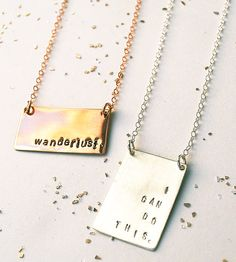 Keep a personal mantra, nickname or secret message close to your heart with this bar necklace. Formed by hand in silver, gold or rose gold.