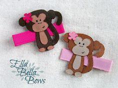 Items similar to Jungle Monkey Ribbon Sculpture Hair Clip, handmade in the USA, Hand Painted face, customize the accent colors, One on Etsy Ribbon Art, Ribbon Hair Bows, Diy Ribbon, Ribbon Crafts, Thanksgiving Hair Bows, Kids Box Braids, Animal Bows, Kids Hair Bows, Ribbon Sculpture