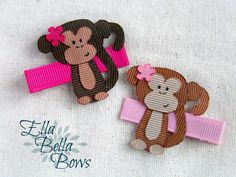 Jungle Monkey Ribbon Sculpture Hair Clip, handmade in the USA, Hand Painted face, customize the accent colors, One (1)