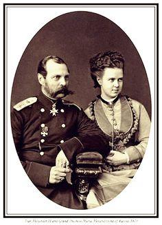 "Tsar Alexander II of Russia and his daughter Grand Duchess Maria Alexandrovna Romanova of Russia – later Duchess of Edinburgh;1873. ""AL"""