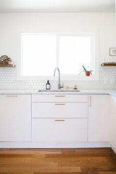 So bright, this cute little white #kitchen. I can envision many a happy coffee mornings in here. #ThisOldHouse inspiration via www.L-2-Design.com