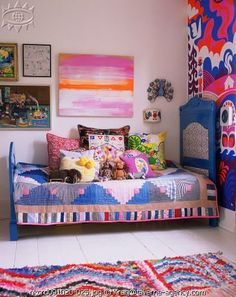 Home: Eleven Inspiring Bohemian Rooms (Gorgeous hues and gorgeous quilt in this Colourful, vintage inspired kids' room, via The Boo and the Boy) Inspiration For Kids, Room Inspiration, Furniture Inspiration, Casa Kids, Bohemian Room, Boho, Bohemian Girls, Bohemian Decor, Deco Kids