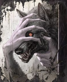 Experimenting and ended up trying something a bit different. This werewolf goes out to the woods whenever he transforms. He must have stumbled across an old cabin to have found a mirror Dark Art Illustrations, Illustration Art, Dark Fantasy, Fantasy Art, Demon Drawings, Shadow Wolf, American Werewolf In London, Creepy Tattoos, Werewolf Art
