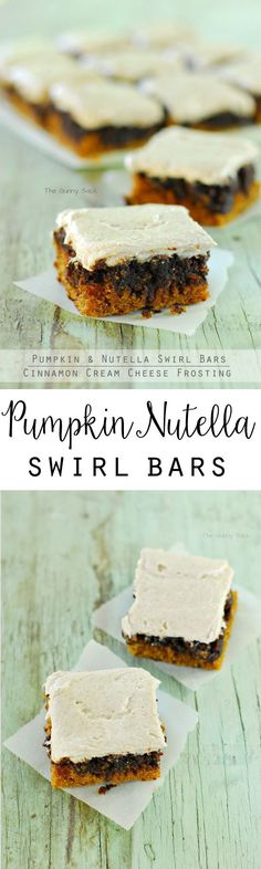 Pumpkin desserts taste even better with chocolate. This recipe for Pumpkin Nutella Swirl Bars with Cinnamon Cream Cheese Frosting is the perfect combination!