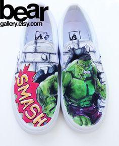 Custom Vans The Hulk by BearGallery on Etsy, $125.00