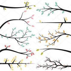 Descargar - Colección de vectores de siluetas de rama de árbol — Ilustración de stock