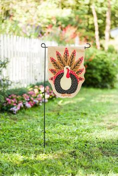 """Thanksgiving Turkey Time Garden Flag Sculpted Double-Sided Burlap 12.5""""W x 18""""H #EvergreenFlag"""