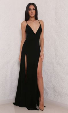 Moda Glam Boutique - Abyss by Abby 'Elle' Gown-Black