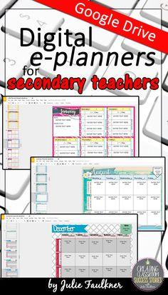 Teacher Planner, Secondary, Middle School, High School, Teacher Calendar, Google Drive, Online Planner, Virtual Planner, A/B Schedule, Block Schedule, Three Preps, Four Preps