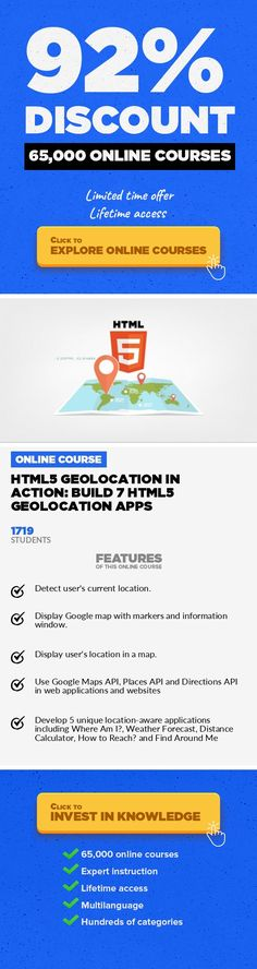 HTML5 Geolocation in Action: Build 7 HTML5 Geolocation Apps Web Development, Development #onlinecourses #onlinecoursescolleges #onlinedegree  Learn to Use HTML5 Geolocation API, Google Maps API, Directions API & Places API to Build HTML5 GPS-Based Applications ***Quizzes, Practice Exercises and 7 Unique Location-Aware Applications are Included*** **Last Updated on 11thNovember 2016: A new update...