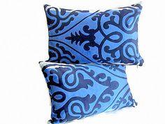 Set of 2 Damask velvet throw lumbar pillow – 12x20 12x18 pillow cover –  Velvet accent chair – Upholstery blue grey livingroom cushion cover