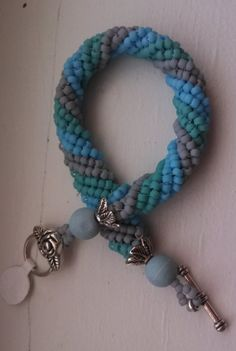 Woven Beaded Bracelet baby blue turquoise  by BeadTrunkCreations, $42.00