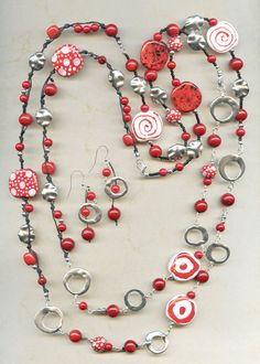 Red and White Multi-Way Necklace and Earrings designed by Elaine.  Made with our Kazuri Beads and Pewter Beads.  See more designs @antelopebeads.com
