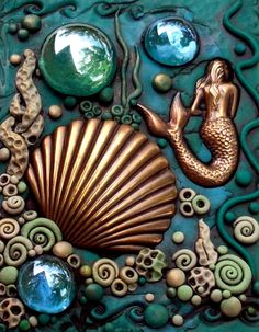 Mermaid Shell Art would make a cool light switch plate cover for my bathroom
