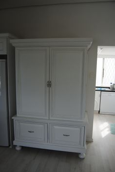 White kitchen Armoire, Tall Cabinet Storage, Kitchens, Furniture, Home Decor, Clothes Stand, Decoration Home, Closet, Room Decor