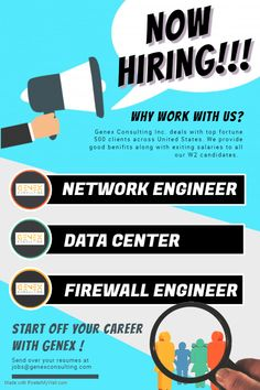 !! Now Hiring !!  We are hiring candidates for our multiple job openings with our client's based across United States.  Below mentioned are our current openings with location -  1) Network Engineer ( New York,NY ) 2) Data Center Engineer ( Los Angeles,CA ) 3) Firewall Engineer ( Palo Alto,CA )  Feel free to whats app us on +1-312-224-4637 or email us your resume.  #GenexJobs #Network #DataCenter #Firewall #engineer #job #staffing #agency #PaloAlto #NewYork #NY #CA #LosAngeles #California Hiring Now, We Are Hiring, Network Engineer, Job Opening, Engineering, United States, The Unit, California, App