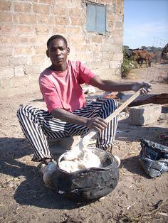 """Funge"" a.k.a ""Pirão""- Angolan staple made from ground corn and manioc flour."