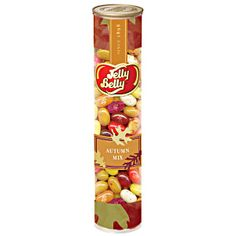 Autumn Mix from Jelly Belly. Jelly beans in fall colors. Orange Sherbet. Chocolate Pudding. Peach. Red Apple. Raspberry. Pomegranate. Toasted Marshmallow. Top Banana. Assorted