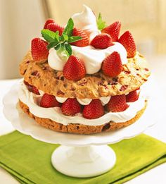 Double Strawberry Shortcake - strawberries are baked into the shortcake as well as layered.