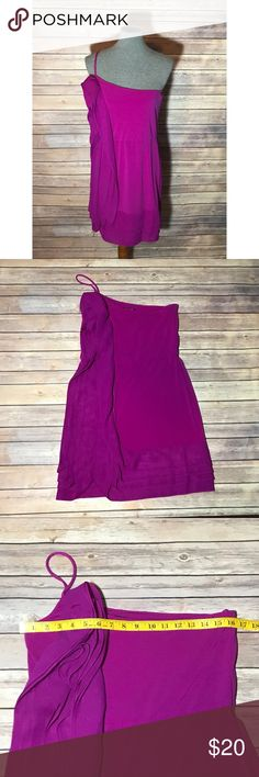 Gianni Bini purple single strap dress- Medium Beautiful purple single strapped ruffle dress by Gianni Bini. Features a flattering front ruffle and a layered hemline. Excellent used condition- one tiny ink spot on the bottom hem- hardly noticeable. Size Medium with stretch- offers welcomed :) Gianni Bini Dresses One Shoulder