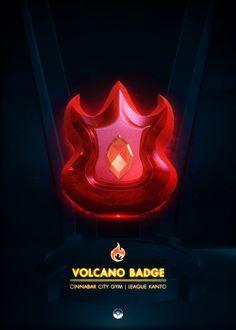 "Beautiful ""Volcano Badge - metal poster created by Artkal . Our Displate metal prints will make your walls awesome. Kanto Gym Badges, Pokemon Gym Badges, Pokemon Red, Pokemon Pins, Game Boy, Rainbow Badge, Popular Pokemon, Gaming Posters, Pokemon Gijinka"
