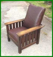 Morris Chair 332 - Voorhees Craftsman Furniture - Original L. & J. G. Stickley Handcraft Morris Chair with Slats to the Floor