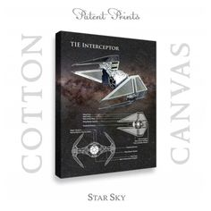 Star Wars TIE Interceptor Patent professionally printed on museum quality cotton canvas. TIE Interceptor canvas is available in various sizes and background colors. Star Wars Prints, Star Wars Tshirt, Star Wars Poster, Star Sky, Patent Prints, Nurse Gifts, Wood Print, Colorful Backgrounds, Great Gifts