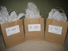 New Year's Eve Countdown Bags would be so much fun for the kids! Label each bag with an hour leading up to midnight, starting at 7 o'clock. Label one bag with 11:55 pm. Fill each bag with something fun! Every hour until midnight the kids get to open a bag and celebrate what is inside!