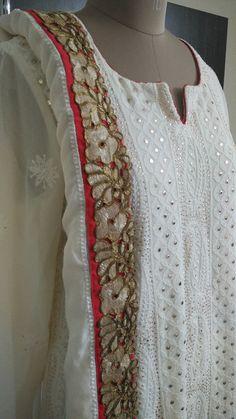 Chikankari Suits with Mukaish Work . Off White Dresses, Simple Dresses, Anarkali, Sharara, Churidar, Chikenkari Suits, Lucknowi Suits, Kurta Cotton, Kurta Style