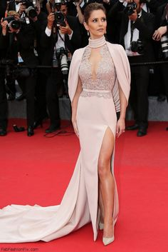 """Cheryl Fernandez-Versini wearing Ralph&Russo Couture pink gown at """"Irrational Man"""" Premiere at 2015 Cannes Film Festival. #cannes"""