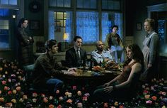 Gregory Crewdson - Six Feet Under.  One of the most amazing photographers working today; his shoots are giant productions with crews of 50 people, producing one amazing image.