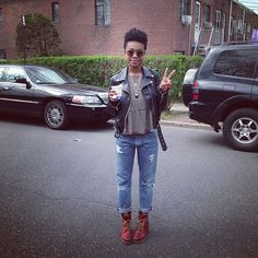 Ariel Sansaricq of Faintly Masculine - Frye Sabrina lace-up boots in red, boyfriend jeans, feminine top