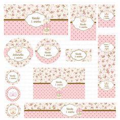 Kits digitais Charme Papeteria - Ursinha Floral marrom e rosa: