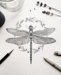 Dragonfly Illustration, Dragonfly Drawing, Dragonfly Tattoo Design, Tattoo Designs, Dragonfly Art, Dragonfly Tatoos, Sternum Tattoo, Chest Tattoo, I Tattoo