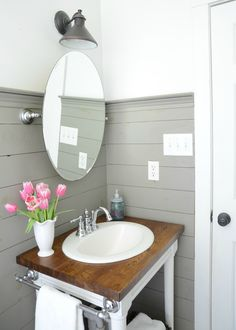 Farmhouse bathroom refresh -  DIY shiplap and building your own vanity