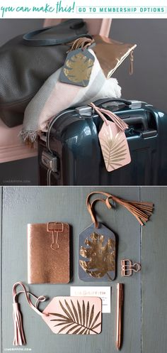 Come Fly With Me ✈️  Whether you're off to a tropical destination or an important business trip, these foiled luggage tags will have you looking stylish on the runway. All you have to do is follow our super simple steps and pack your bags!  https://liagriffith.com/foiled-tropical-luggage-tags/ * * * #tropical #tropics #travel #traveling #travelaccessories #travelgram #luggage #vacation #vacationmode #diy #diyinspiration #diycraft #diycrafts #diyproject #diyprojects #diyidea #diyideas #svg…