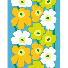 Marimekko Unikko Blue/Green/Yellow/White Fabric The spring-hued Marimekko Unikko poppy fabric displays alternating white, yellow and lime flowers with green stems over a sky blue background. This popular Marimekko design was created by Maija Isola i. Textures Patterns, Fabric Patterns, Color Patterns, Print Patterns, Floral Patterns, Design Textile, Fabric Design, Pattern Design, Scandinavian Fabric