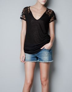 LINEN T-SHIRT WITH LACE BACK - T-shirts - Woman - ZARA United States