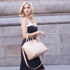 "Ivanka Trump on Instagram: ""The Charlotte tote has quickly become one of my favorite work bag. Shop it at #Zappos. P.S., I also love this dress (it sold out!), but you can find similar styles at #LordandTaylor.  by @abbeydrucker"""