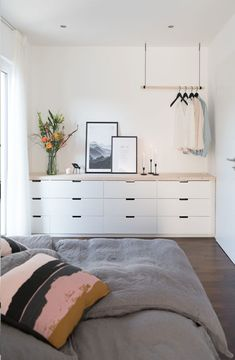 Bedroom with Ikea Nordli DIY redesign the living room Many people w . - Bedroom with Ikea Nordli DIY Redesigning the living room Many people don& know where to start - Ikea Chest Of Drawers, Ikea Dresser, Ikea Bedroom, Master Bedroom, Bedroom Decor, Bedroom Chest, Bedroom Furniture Design, Closet Bedroom, Furniture Layout