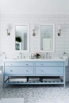 Dual Sinks No Need To Share Bathroom Large Tilue Vanity