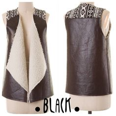 HOST PICK 11/9FAUX LEATHER LAMBS WOOL VEST Very cute, faux leather black vest with Aztec design detail. Lambs wool to keep you warm this winter. LOVE THIS!  NWOT PLEASE DO NOT BUY THIS LISTING! I will personalize one for you. tla2 Jackets & Coats