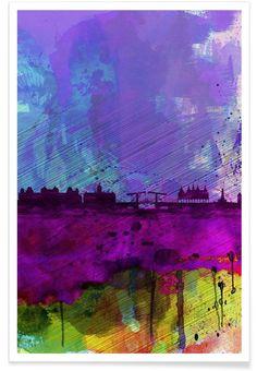 Amsterdam Watercolor Skyline VON Naxart now on JUNIQE!