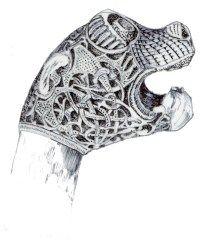 normandie viking oseberg navire snekka drakkar snekke esneque dragon tête sculpture                                                                                                                                                                                 Plus