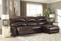 Leather Reclining Sectional, Reclining Sofa, Sectional Sofas, Ashley Sofa, Types Of Sofas, New Beds, Power Recliners, Sofa Furniture, Furniture Stores