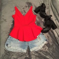 InterMix Red Top Stylish red top fits so comfortably. Worn once⚡️NWOT⚡️ InterMix Tops Blouses
